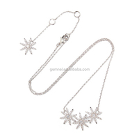 Silver plated cubic zirconia necklace diamond flower choker necklace handmade jewelry