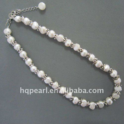 9-10mm white baroque freshwater pearl necklace with metal ring, 45cm and 7cm extender