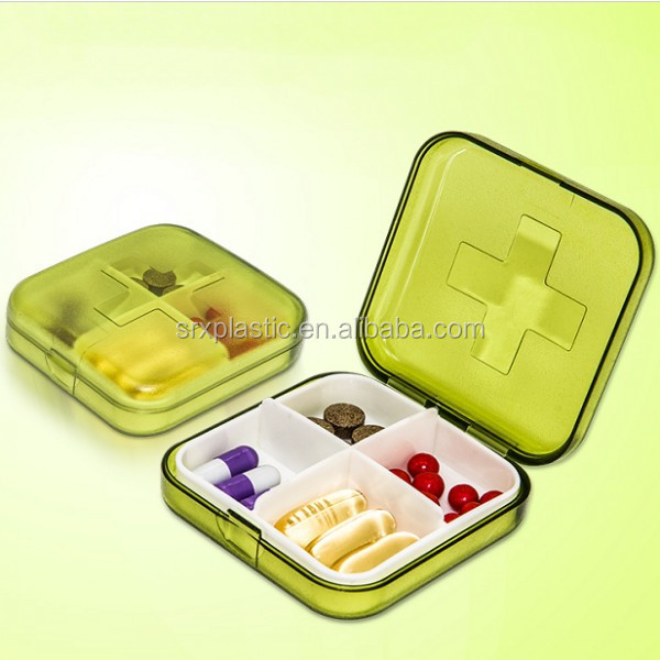 custom promotional 4 compartment medicine storage case PP plastic pill storage box supplier in China,plastic pill box supplier