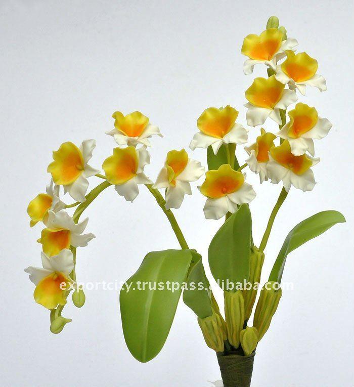 "Dendrobium Orchid 8"" Artificial Flowers Thai Clay Handmade"