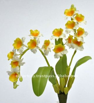 "Wild Orchid 8"" Artificial Flowers Thai Clay Handmade"