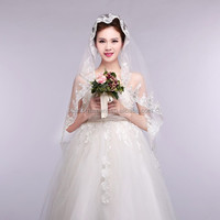 Top Design Handmade Embroidery Lace Trim Sequined Regal Bridal Veil White/Ivory Beatiful Veils And Mermaid Wediding Dress