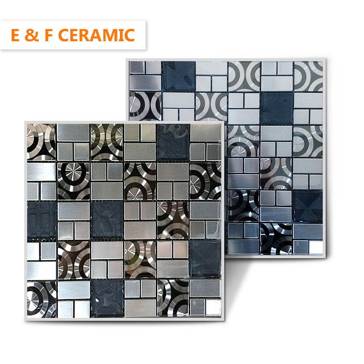 premium wall decoration modern square chip shiny mix color mosaic tiles crystal metal mosaic