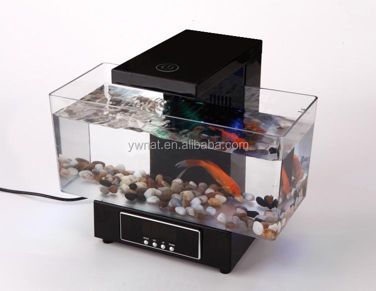 Multifunctional Led Usb Desktop Aquarium Mini Aquariums Fish Tank With Touch Table Lamp Alarm