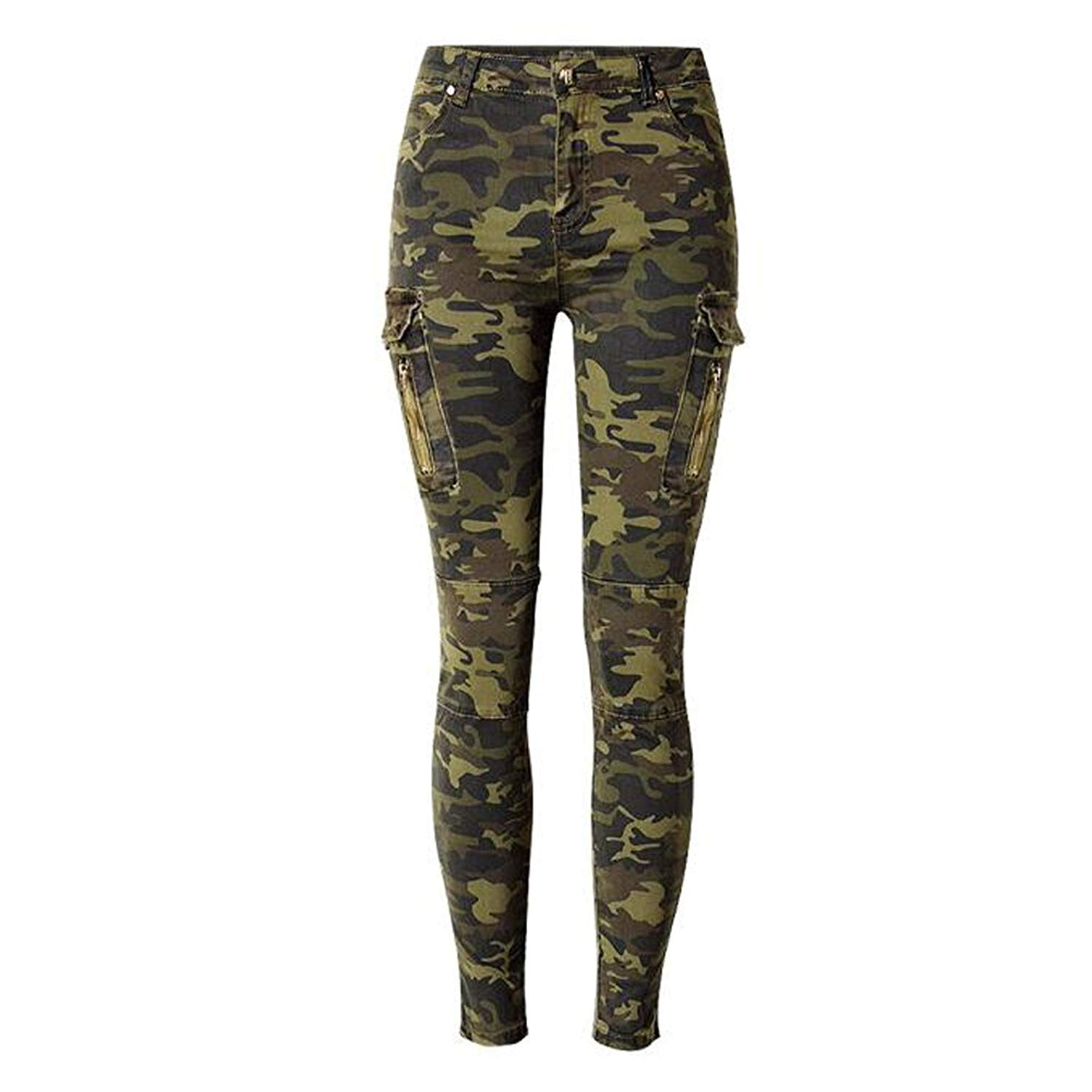 ee529bcf4b6f Get Quotations · Urchart Women Camouflage Denim Spandex Pants Lady Military  Skinny Jeans Trousers Army Green