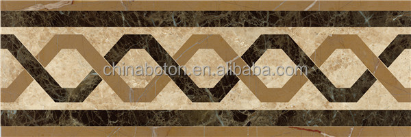 Natural Stone Waterjet Mosaic Border For Wall Marble