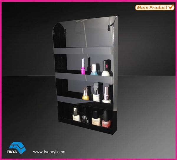 2016 4-Layer 40 Bottles Capacity Crystal Makeup Cosmetic Display Shelves Wall Mounted Acrylic Nail Polish Rack Display Wholesale