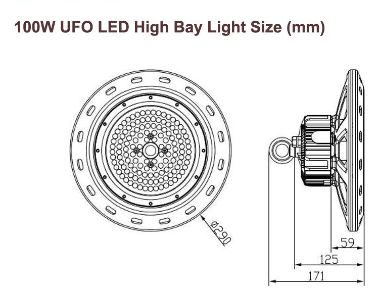 100W UFO size
