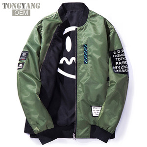 TONGYANG Bomber Jacket Men Pilot With Patches Green Both Side Wear Thin Pilot Bomber Jackets Men Wind Breaker Jacket Men