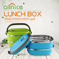 Food grade safe rectangular stainless steel plastic 3 layer bento lunch box