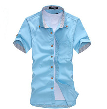 Blue formal cotton made single jersey button man shirts