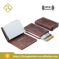 Men Slim Wallet Genuine Leather Amazon RFID Safe Card Case for max 12 cards