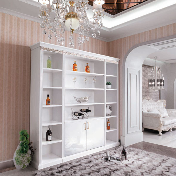 Full Standing White Color Display Cabinet In Living Room With Drawers