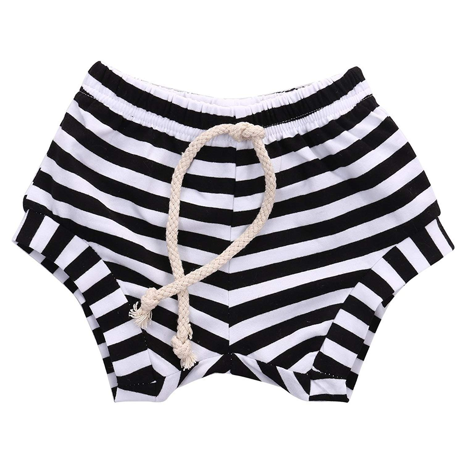 ab7b2764a Get Quotations · Baby Boy Girl Striped Training Pants French Terry Shorts  Drawstring Underwear