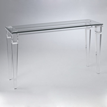 Glass Lobby Console Table Acrylic Lucite Waterfall Coffee Table Customized  Size