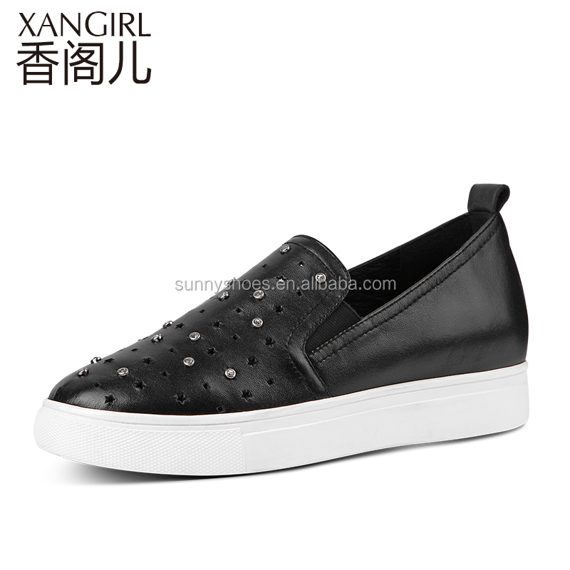 2017 summer new arrivals black rivet decorated genuine leather women sports shoes handmade shoes