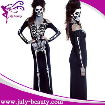 8ad78343aa9e 2016 costumi sexy Lungo Vestito Da Scheletro Adulto costumi di halloween  cina all ingrosso