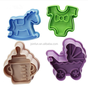 Custom 3d stamp cake tools plastic cartoon shaped cookie cutter