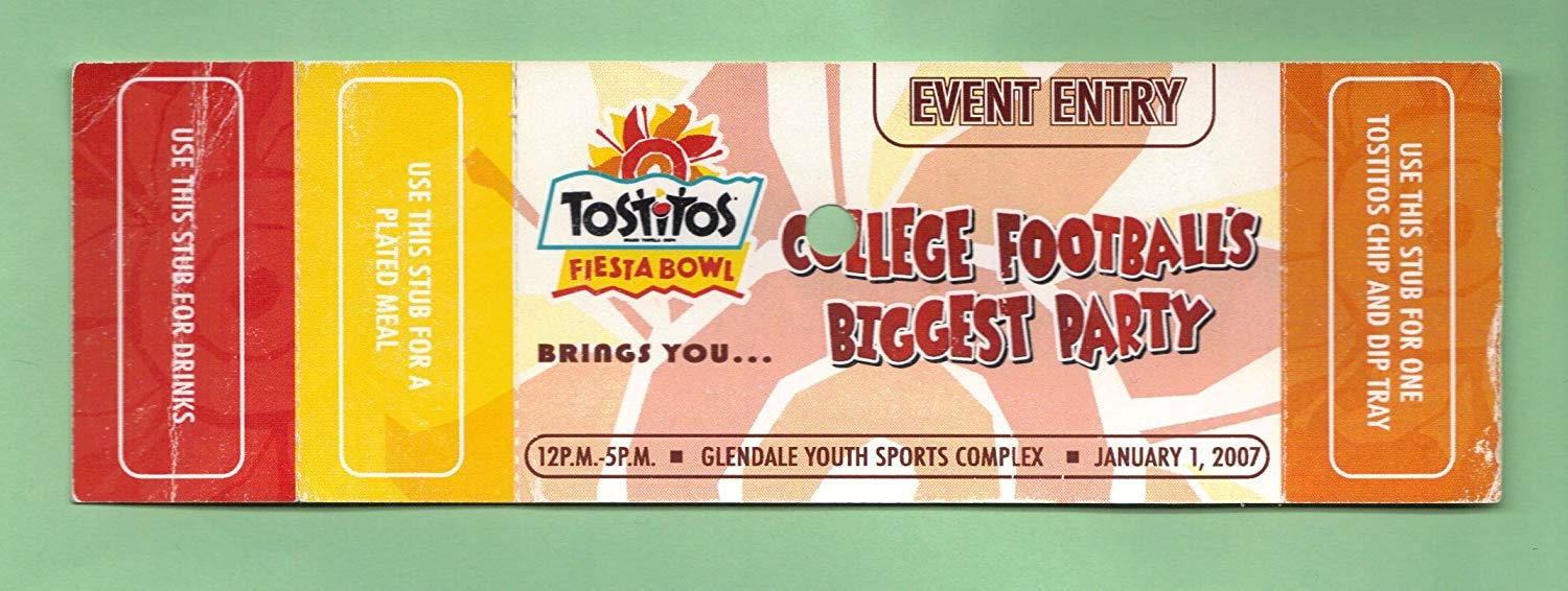 2007 Tostitos Fiesta Bowl Tailgate Party Ticket Stub (Complete) - Boise State Broncos - Oklahoma Sooners