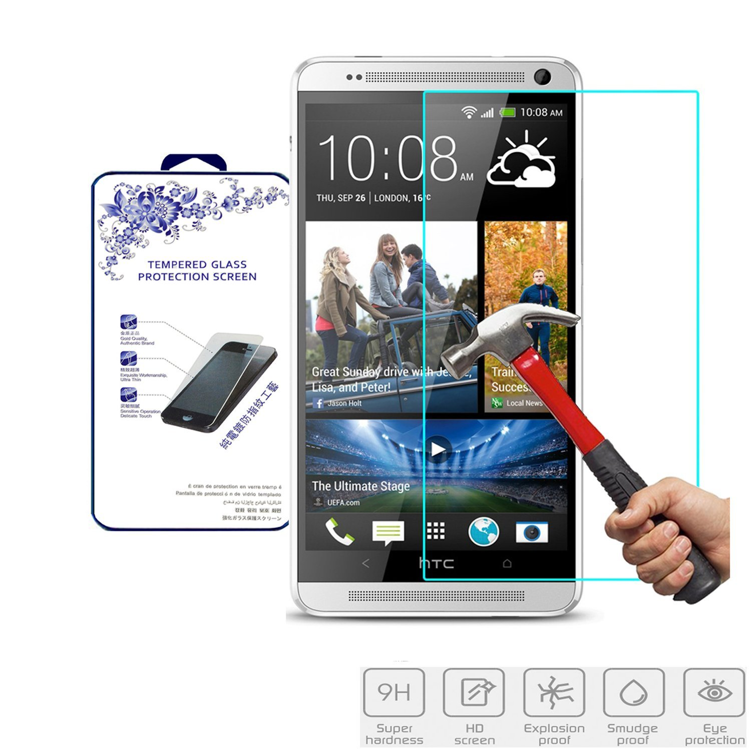HTC One Max Glass Screen Protector, Nacodex® Premium Real Tempered Glass Film Screen Protector [Guardian Series] 0.33mm 2.5d **New** Ultra Slimpremium Ballistic 99.9% Touch Accurate Perfect Fit Screen Protector Maximum Screen Protection for HTC One Max - ATT Verizon T-mobile, Replacement Glass (HTC