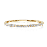 Fashion 18K Gold Silver Diamond & Gemstone 3 Sided Bangle