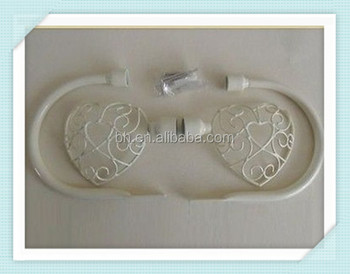 New Cream Shabby Chic Metal Heart Curtain Hold Tie Backs Finials Fixings Vintage