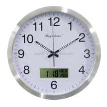 Round type customized LCD digital calendar aluminum wall clock