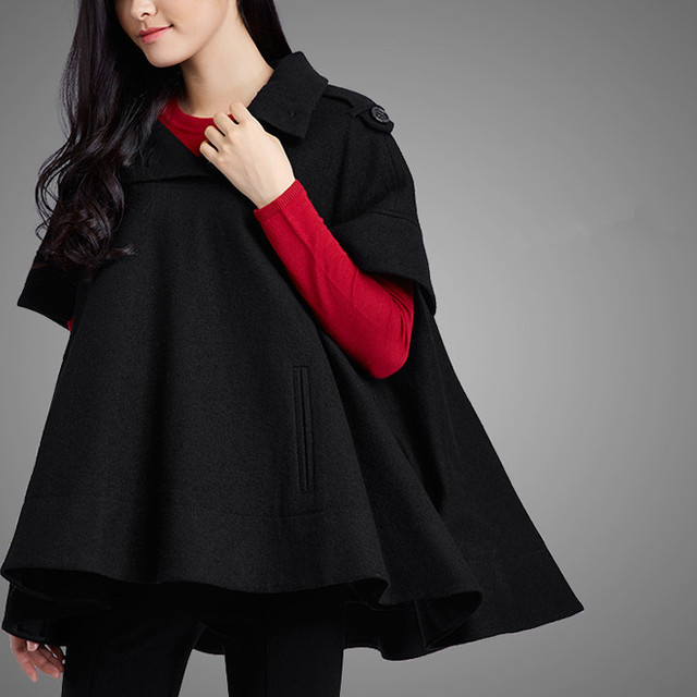 2015 England winter warm fashion cashmere Round neckline women coat cape cloak