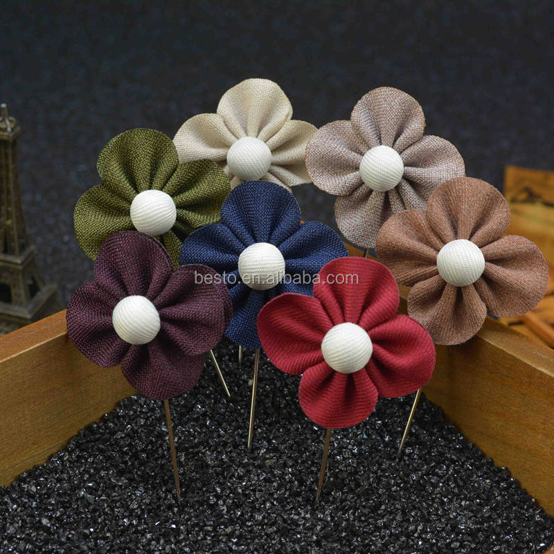 handmade fabric flower lapel pin for men long Boutonniere Wedding flower lapel pin