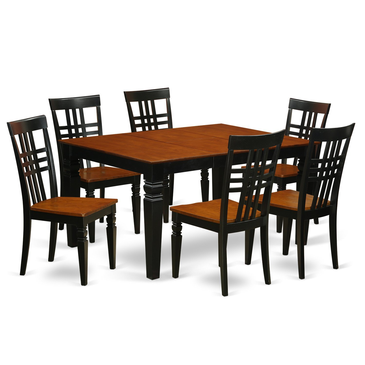 East West Furniture Weston WELG7-BCH-W 7 Pc Set with a Kitchen Table and 6 Wood Dining Chairs, Black