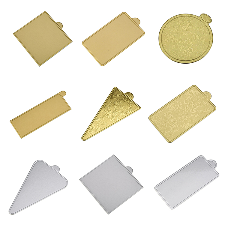 Wholesale Cheap Customized Size Gold Triangle Paper Mini Disposable Dessert Cake Boards