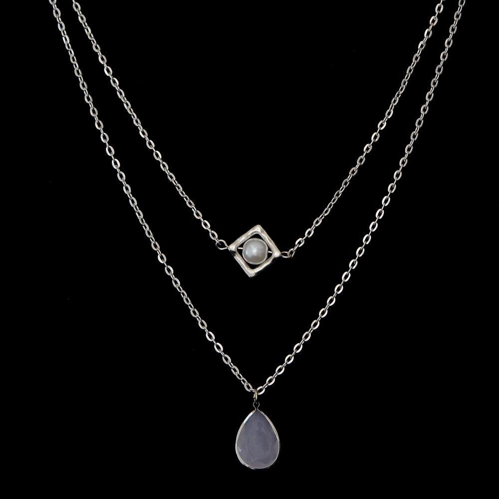 Cheap Price Necklace Accessory Artificial Pearl Pendant Choker Grey Crystal Droplet Necklace Jewelry