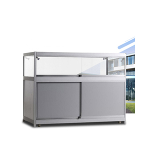 Portable Exhibition Glass Display Counter / Foldable Display Cabinet Showcase For Booth Display