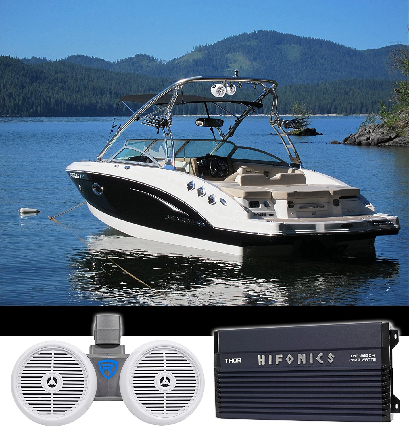 Hifonics TMA-2000.4 2000w 4-Ch Marine Boat Amplifier+Receiver+Wakeboard Speakers