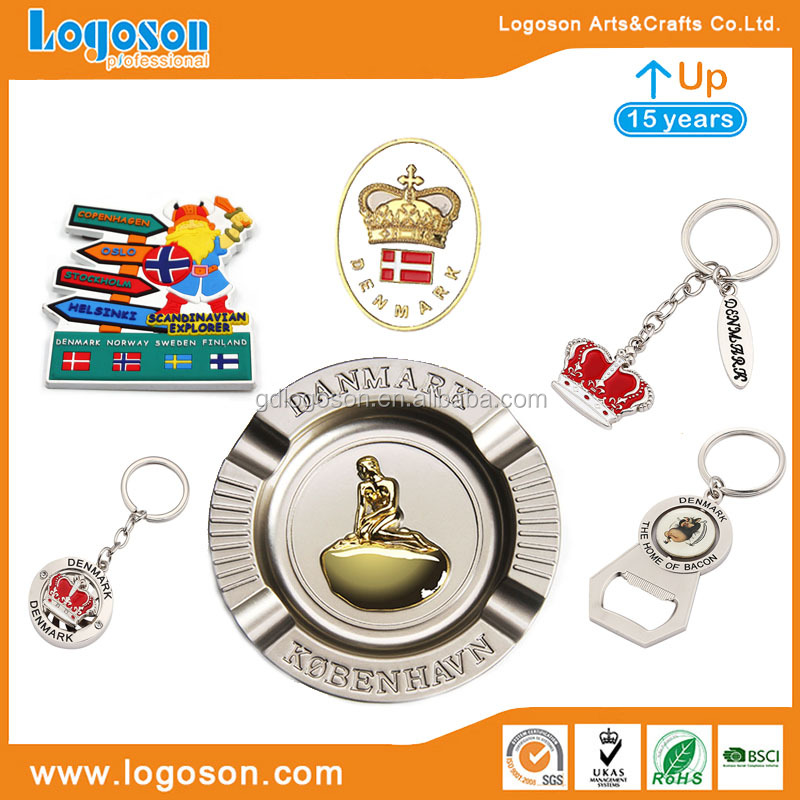 Top Selling Souvenirs Danmark Metal Crafts Personalized Mini Bottle & Can Opener with Keychain Rings Bottle Openers