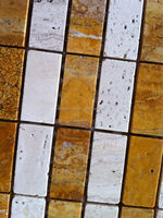 Yellow mixed white travertine ledge stone mosaic tile