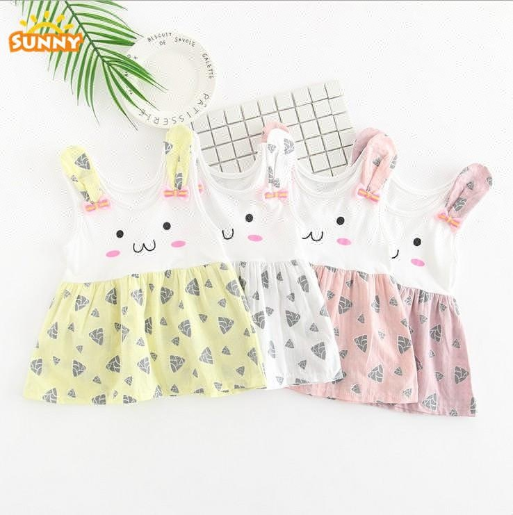 Mixing Prints Lovely Rabbit baby girls dresses clothes on sale