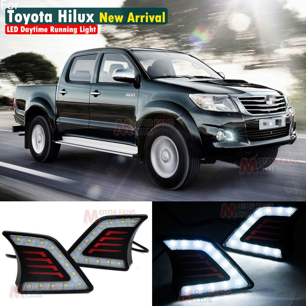 MotorFansClub Daytime Running Light LED DRL Fog Lamp for Toyota Hilux Vigo 2011-2014 (Black)
