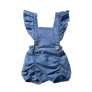 2018 whosale children clothing infant toddlers summer fly sleeve denim bodysuit newborn baby jeans romper