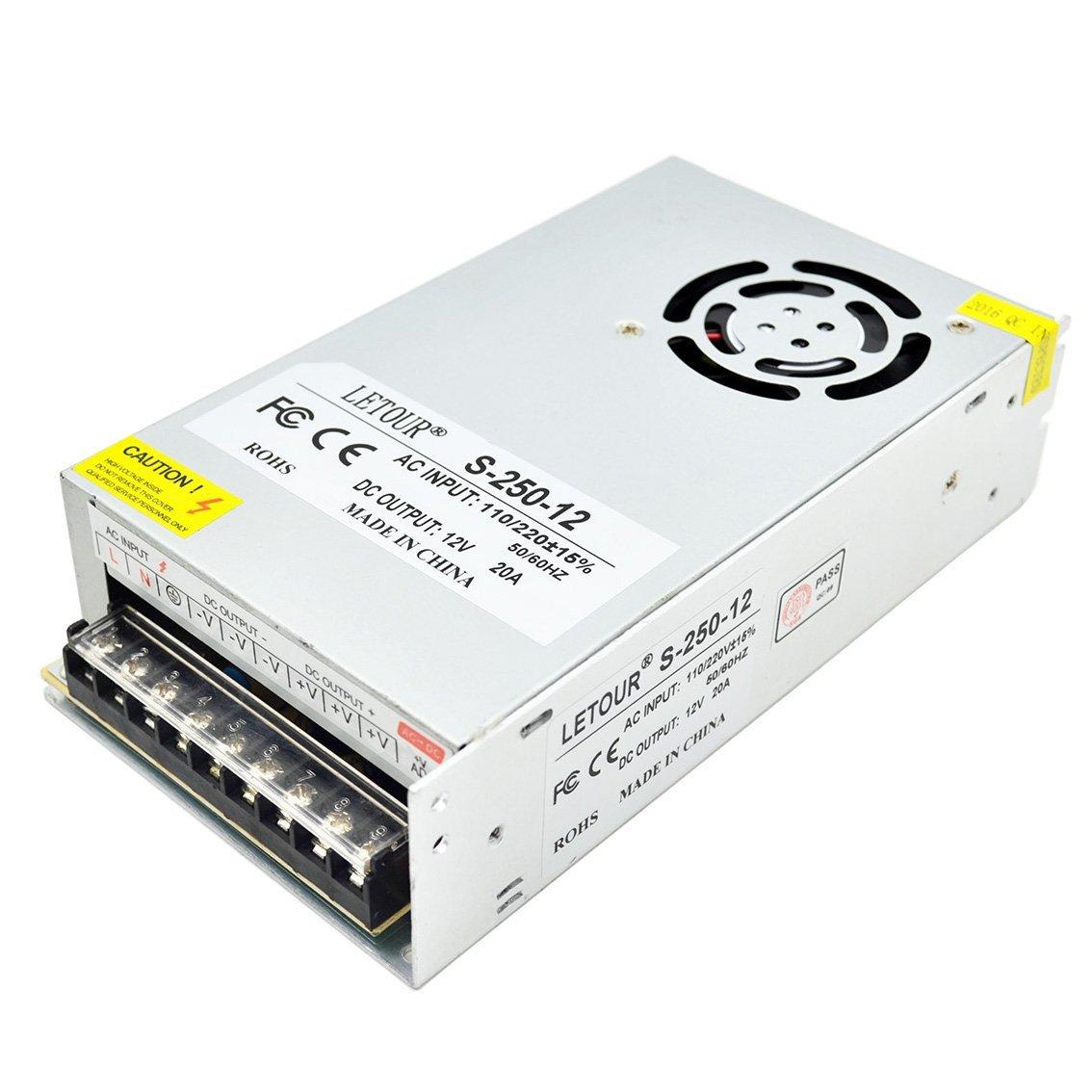 LETOUR DC 12V Power Supply 20A 250W AC 110V/220V Converter DC 12Volt 20Amp 250Watts Adapter LED Power Supply for LED Lighting,LED Strip,CCTV