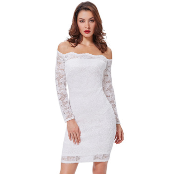 50d54fe1c6be Kate Kasin Sexy Women's Off Shoulder White Floral Lace Hips-Wrapped Bodycon  Pencil Summer Dress