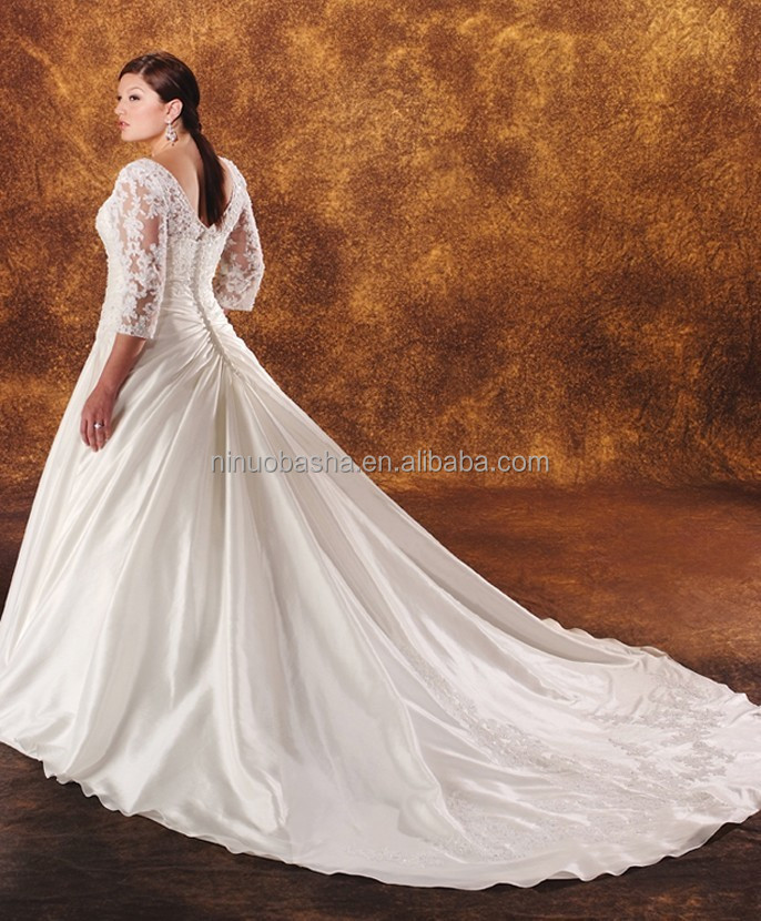2014 taffeta ball gown plus size wedding dress v neck for Long sleeve plus size wedding dress