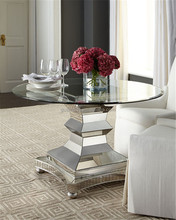 extendable modern Glass Material round mirrored dining table