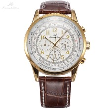 KS Golden Luxury Aviator Day Date 24Hours Mens Automatic Mechanical Wrist Watch