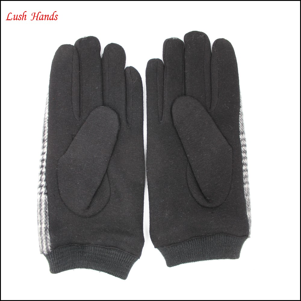 Mens cheap woolen gloves with fashion plaid cloth