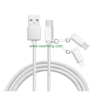3 in 1 Nylon Braided Quick Charging data line USB Charger Data cable for Type-C /iOS/ Android