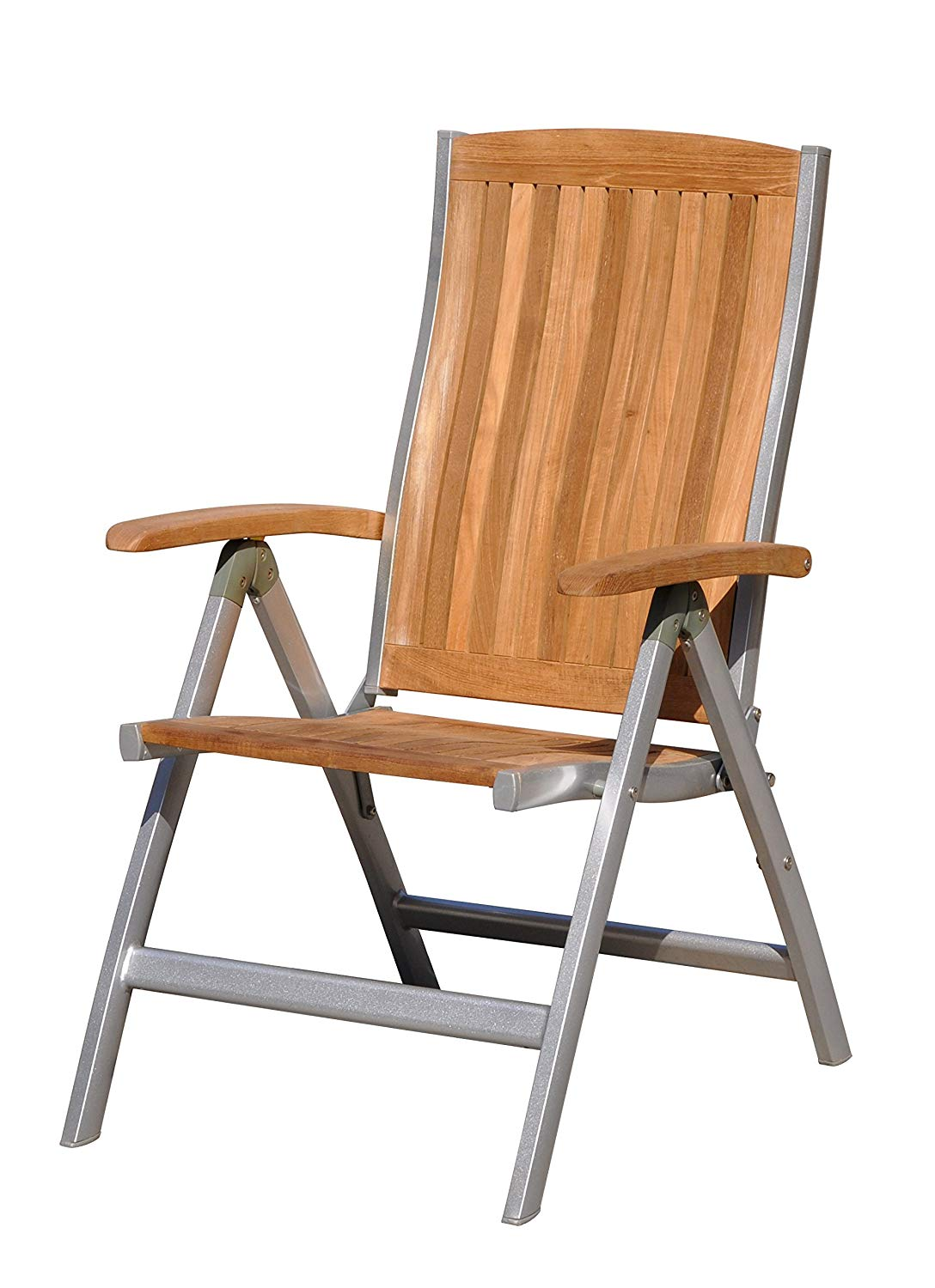 Courtyard Casual Natural Finish Burma Teak and Aluminum Outdoor Chair