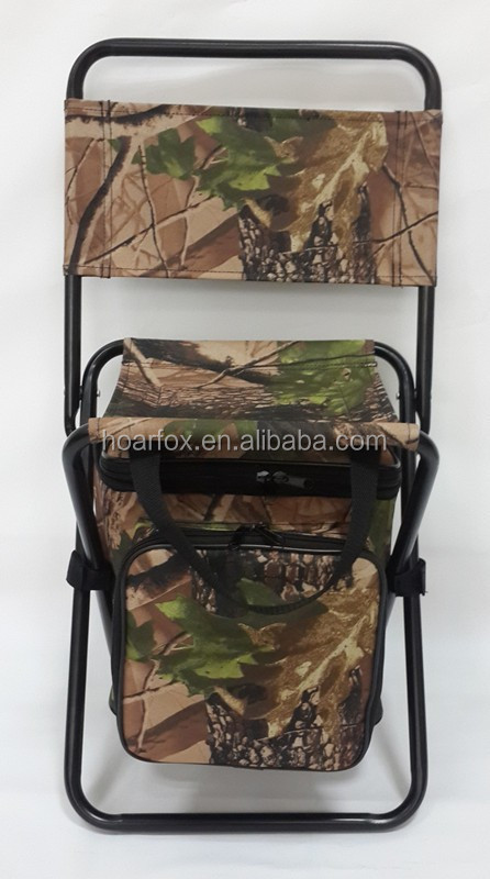 Foldable and portable steel chair wiht insulated cooler bag