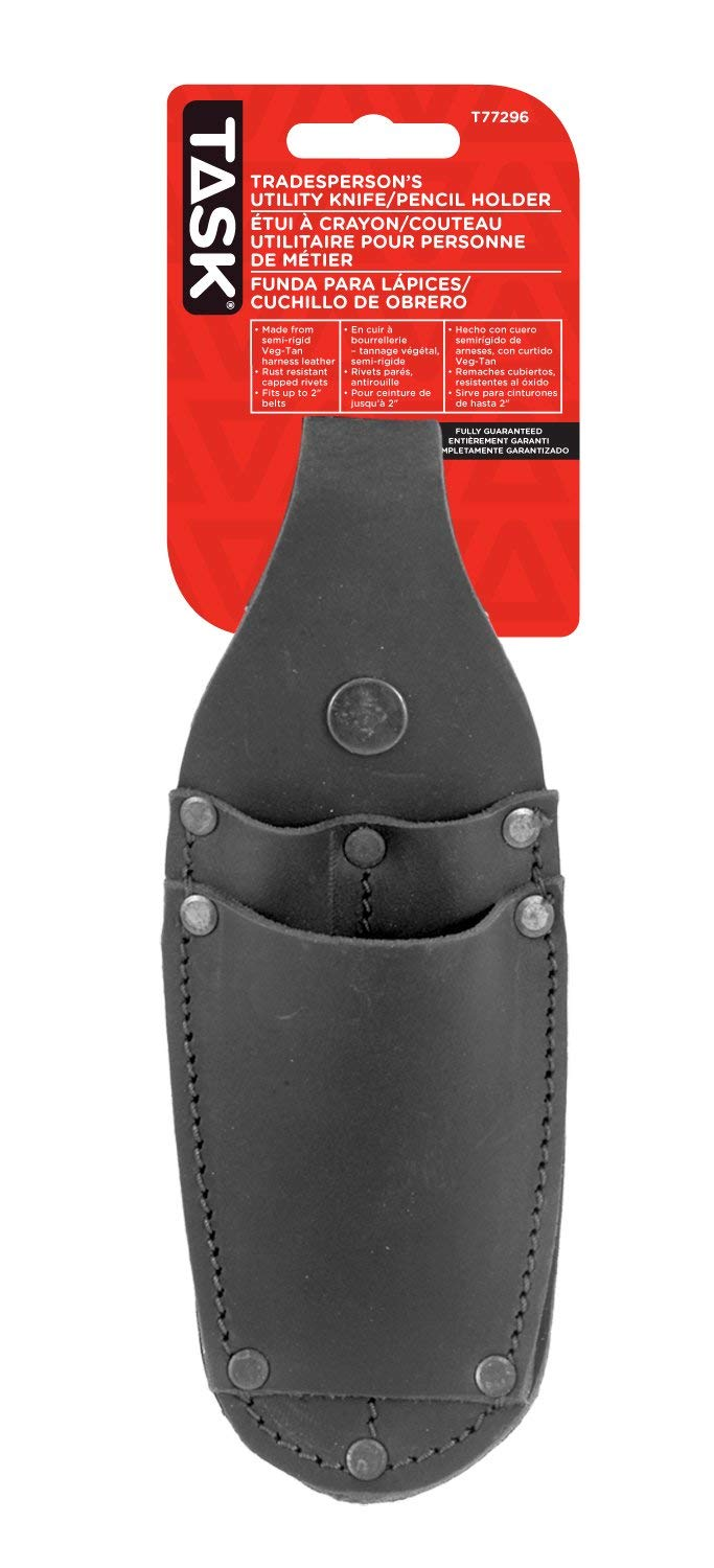 Task Tools T77296 Tradesperson's Leather Utility Knife/Pencil Holder