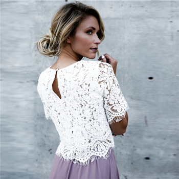 c7556a30ef0 L3740A Fashion sexy mature women white lace loose t-shirts women half  sleeve tops blouses